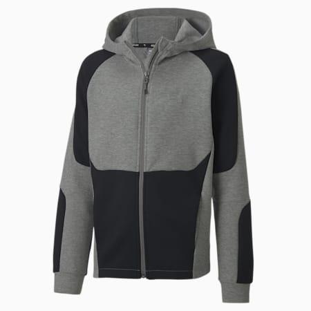 Evostripe hoodie met rits voor jongens, Medium Gray Heather, small