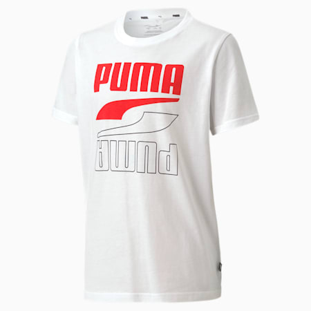 Rebel Youth Tee, Puma White-red, small-SEA