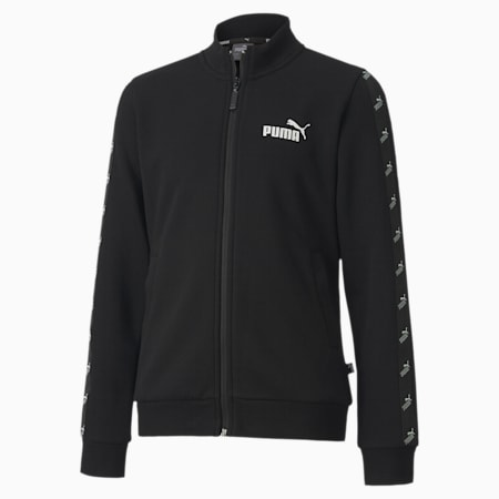 Amplified Full Zip Youth Track Jacket, Puma Black, small-SEA