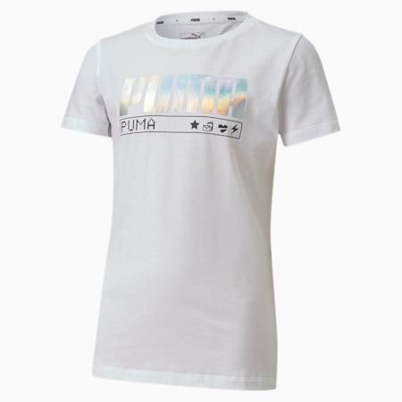 Alpha Short Sleeve Youth Tee, Puma White-wording, small-SEA