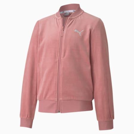 Track Jacket con zip integrale Alpha in velluto da ragazza, Foxglove, small