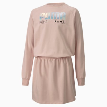 Alpha Long Sleeve Youth Dress, Peachskin, small-SEA