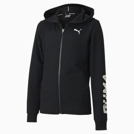Modern Sports Full Zip Youth Hoodie, Puma Black, small-SEA