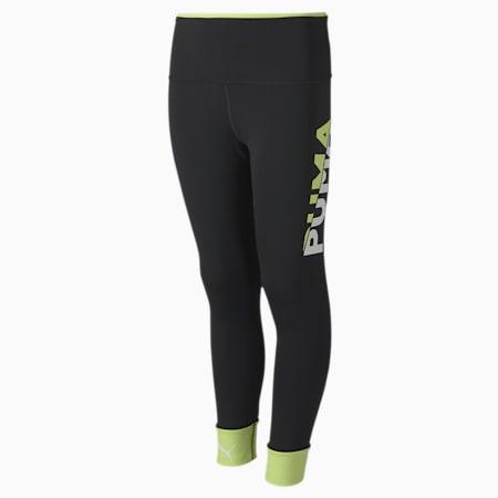 Modern Sports dryCELL Kid's Tights, Puma Black-Sharp Green, small-IND