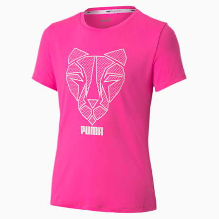 Runtrain Youth Tee, Luminous Pink, small-GBR