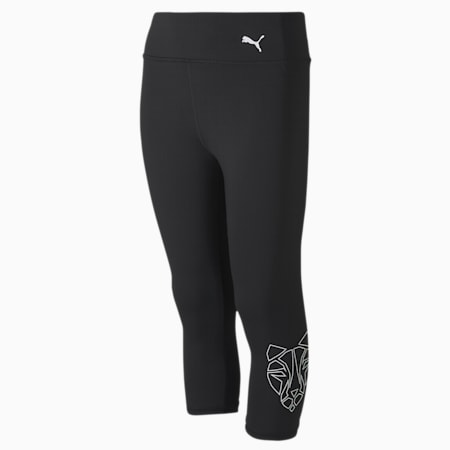 Runtrain 3/4 Youth Leggings, Puma Black, small-SEA