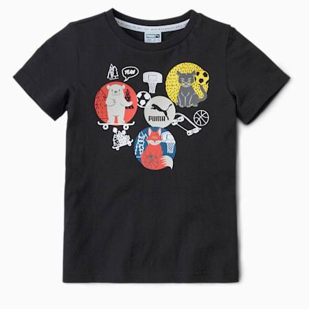 Animals Suede Kids' T-Shirt, Puma Black, small-IND