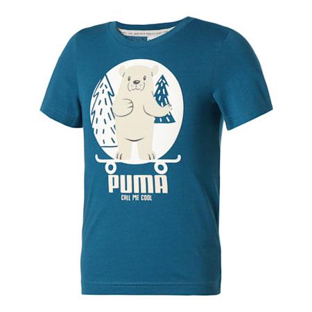 キッズ アニマルズ スウェード 半袖 Tシャツ 92-128cm, Digi-blue, small-JPN