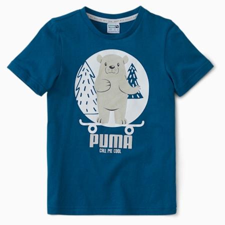 Animals Suede Kids' T-Shirt, Digi-blue, small-IND