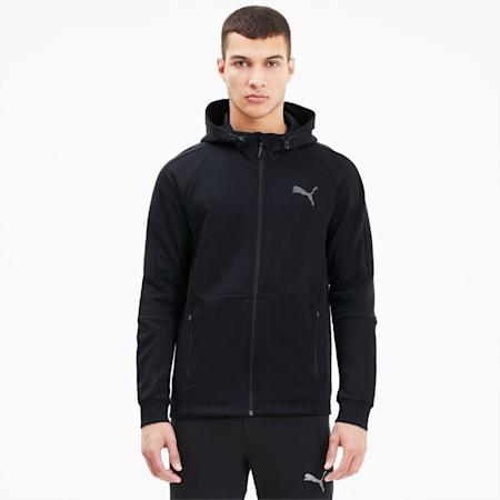 Felpa Evostripe con cappuccio e zip integrale uomo, Puma Black, small