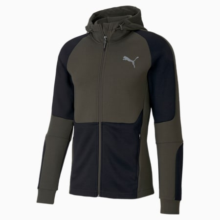 Evostripe Full-Zip dryCELL Slim Fit Men's Hoodie, Forest Night, small-IND