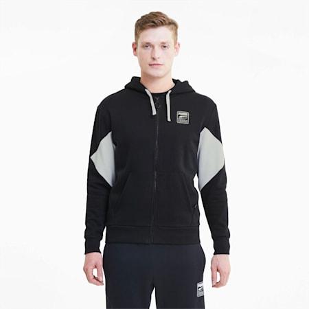 Rebel Men's Full Zip Hoodie, Puma Black, small