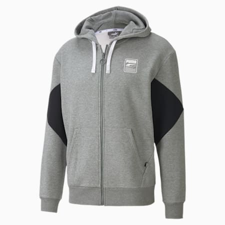 Rebel Full Zip Men's Hoodie, Medium Gray Heather, small