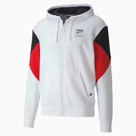 Rebel Men's Full Zip Hoodie, Puma White, small