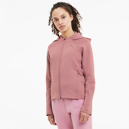 Evostripe hoodie met rits voor dames, Foxglove, small