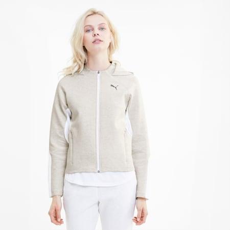 Evostripe Full Zip Women's Hoodie, Puma White Heather, small