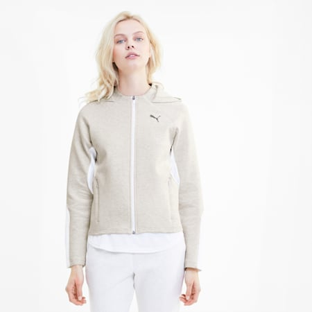 Evostripe Women's Full Zip Hoodie, Puma White Heather, small