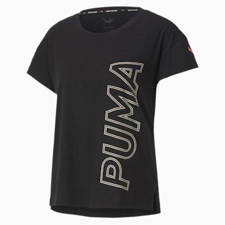Modern Sports Graphic Relaxed Fit Women's T-Shirt, Puma Black-Salmon Rose, small-IND