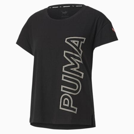 Modern Sports Graphic Women's Tee, Puma Black-Salmon Rose, small-SEA
