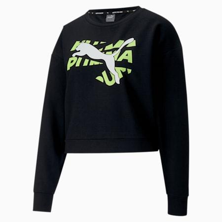Modern Sports Women's Sweatshirt, Puma Black-Sharp Green, small-SEA