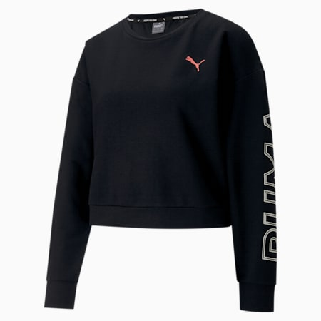 Modern Sports dryCELL Women's Relaxed Sweatshirt, Puma Black-Salmon Rose, small-IND