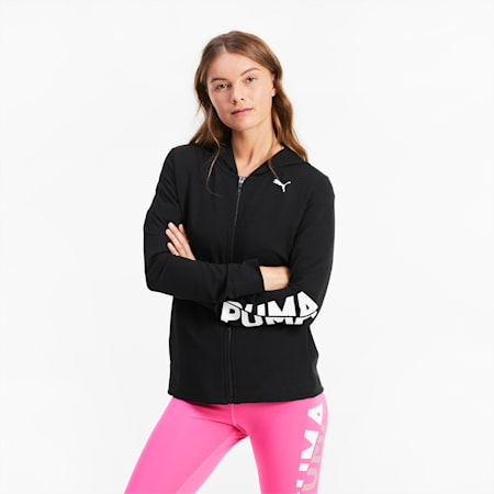 Modern Sports Women's Full Zip Hoodie, Puma Black, small