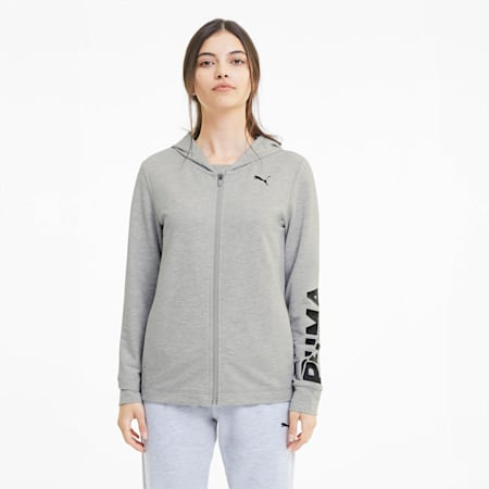 Modern Sports Women's Full Zip Hoodie, Light Gray Heather, small