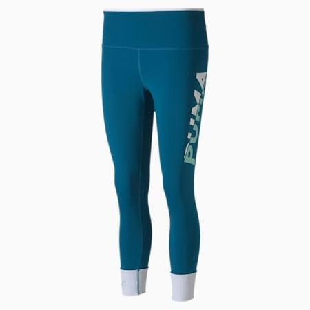 Modern Sports 7/8 Printed Tight Fit Women's Tights, Digi-blue-Puma White, small-IND