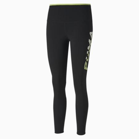 Modern Sports 7/8 Printed Tight Fit Women's Tights, Puma Black-Sharp Green, small-IND