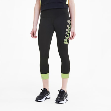 Modern Sports Women's Leggings, Puma Black-Sharp Green, small-SEA