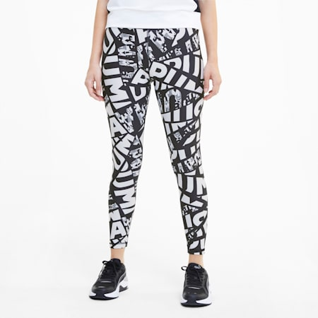 Modern Sports dryCELL Women's 7/8 Printed Leggings, Puma Black, small-IND