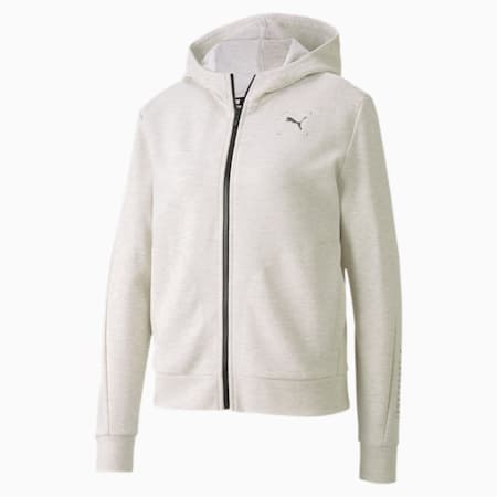 NU-TILITY Full-Zip Women's Relaxed Hoodie, Puma White Heather, small-IND