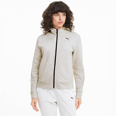 NU-TILITY Full Zip Women's Hoodie, Puma White Heather, small