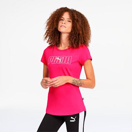 Camiseta estampada Rebel para mujer, Glowing Pink, pequeño