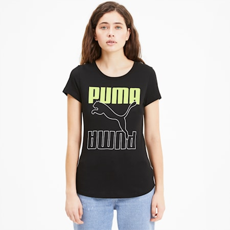 Rebel Graphic Women's Tee, Puma Black-Sharp Green, small-SEA