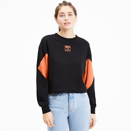 Rebel Women's Sweater, Puma Black-Nrgy Peach, small-SEA