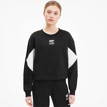 Rebel Women's Crewneck Sweatshirt, Puma Black, small