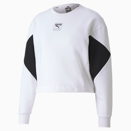 Rebel Crew Women's Relaxed Sweat Shirt, Puma White, small-IND