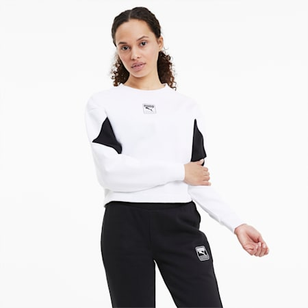 Rebel Crew Relaxed Fit Women's Sweat Shirt, Puma White, small-IND