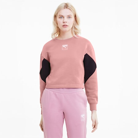 Rebel Crew Relaxed Fit Women's Sweat Shirt, Foxglove, small-IND