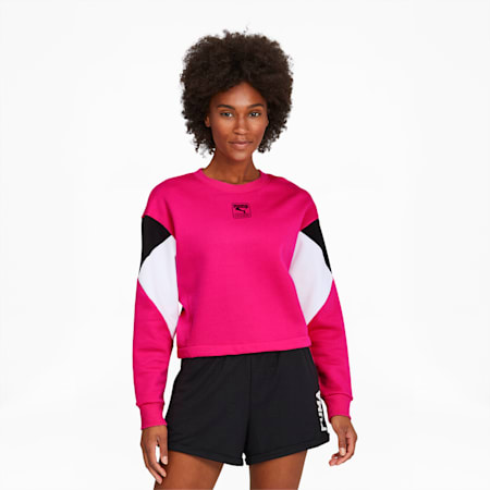 Rebel Women's Crewneck Sweatshirt, Glowing Pink-Black-White, small