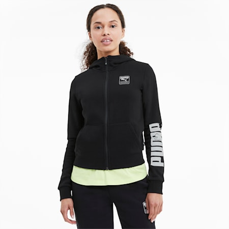 Rebel Full Zip Women's Hoodie, Puma Black, small-SEA