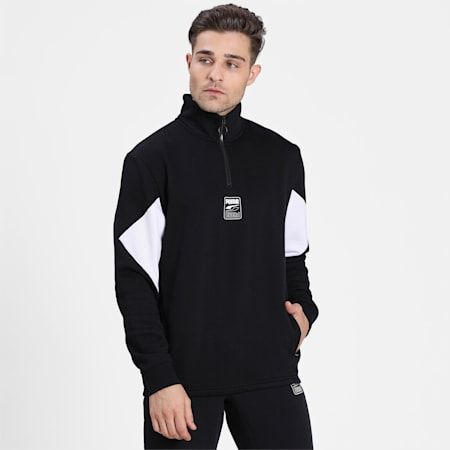Rebel Men's Half Zip Sweatshirt, Puma Black, small