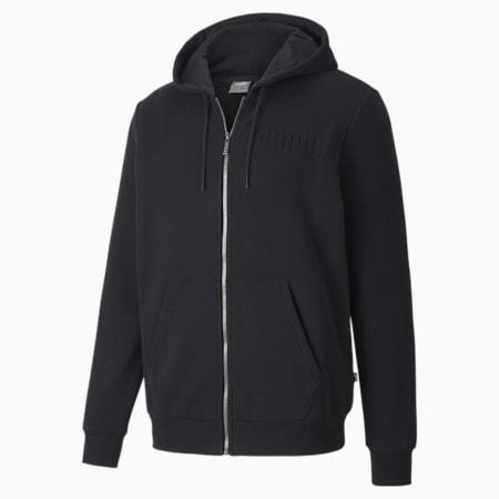 Modern Basics Full-Zip Men's Hoodie, Puma Black, small-IND