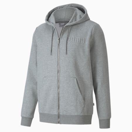 Modern Basics Full-Zip Men's Hoodie, Medium Gray Heather, small-IND