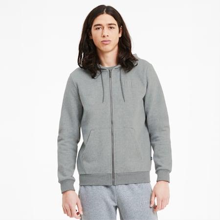 Modern Basics Men's Full Zip Hoodie, Medium Gray Heather, small