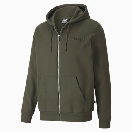 Modern Basics Full Zip Men's Hoodie, Forest Night, small-IND
