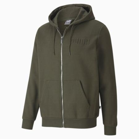Modern Basics Full-Zip Men's Hoodie, Forest Night, small-IND