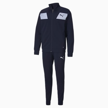 Techstripe Tricot Regular Fit Men's Tracksuit, Peacoat, small-IND