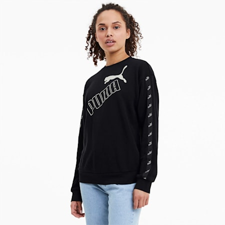 Amplified Crew Neck Women's Sweatshirt, Puma Black, small-IND